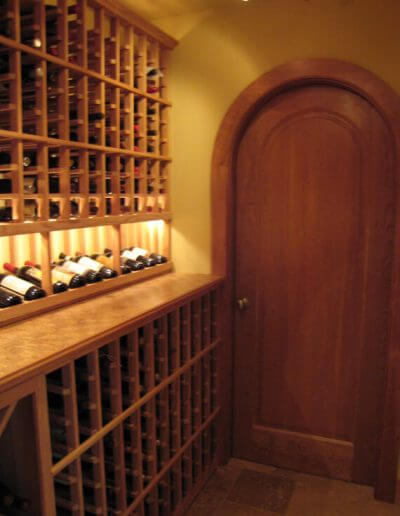 wine cellar with cork flooring