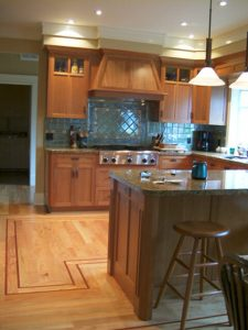 "3/4"" x 3 1/4"" white oak hardwood flooring with custom cherry feature strip"