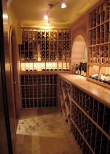 wine cellar with cork plank flooring